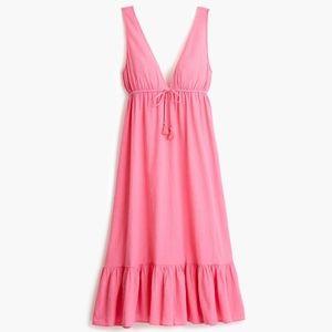 CREW Deep V-Neck Midi Dress in Crinkle Cotton S